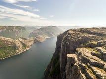 Fotografia Preikestolen, ambony skała przy Lysefjord w Norwegia widok z lotu ptaka Fotografia Royalty Free
