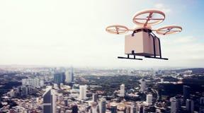 Fotografia projekta pilot do tv powietrza trutnia Flying Blue Żółtego Rodzajowego nieba rzemiosła Pusty pudełko Pod Miastową powi Fotografia Stock
