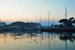 fotografia przedstawia nabrzeżną panoramę Wenecki grodzki Chioggia wzdłuż mola przy zmierzchem obrazy royalty free