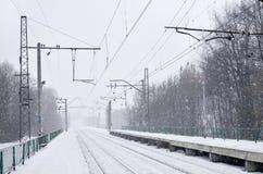 Fotografia stacja kolejowa w przedmieściach lub wsi Linia kolejowa biega między zwartymi rzędami drzewa Śnieżysty platf Zdjęcie Royalty Free