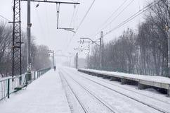 Fotografia stacja kolejowa w przedmieściach lub wsi Linia kolejowa biega między zwartymi rzędami drzewa Śnieżysty platf Zdjęcia Royalty Free