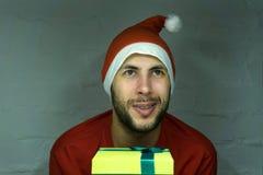 Fotografia szczęśliwy Święty Mikołaj patrzeje kamerę w eyeglasses zdjęcie stock