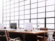 Fotografia wewnętrzny nowożytny pokój konferencyjny z panoramicznymi okno Generics komputery wewnątrz i rodzajowy projekta meble ilustracja wektor