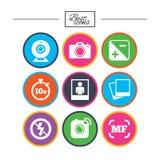 Fotografia, wideo ikony Kamera, fotografie i rama, ilustracja wektor
