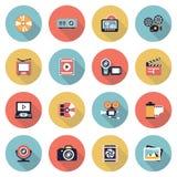 Fotografia & wideo nowożytne płaskie kolor ikony ilustracja wektor