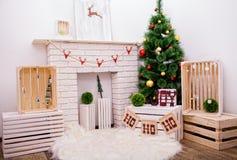 Fotografia wnętrze pokój przygotowywał dla świętować święto bożęgo narodzenia Obraz Stock