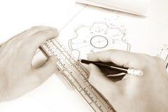 Fotografia wręcza projekta inżyniera Obraz Royalty Free