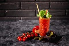 Fotografia wyśmienicie pomidorowy krwistego Mary koktajl zdjęcia stock