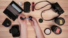 Fotografia, wyposażenie, lotniczy cleaning, cleaning fotograficzny wyposażenie zbiory wideo