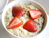 Fotografia zakończenia oatmeal owsianka Zdjęcia Royalty Free