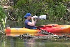 Fotografias do homem quando no caiaque. Fotografia de Stock Royalty Free