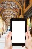 Fotografias do turista do pórtico na Bolonha, Itália Foto de Stock Royalty Free