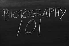 Fotografie 101 auf einer Tafel Lizenzfreie Stockfotos