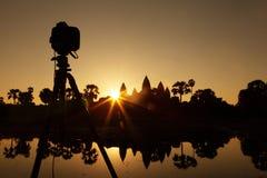 Fotografie bij de tempel van Angkor Wat Stock Afbeeldingen