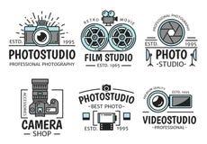 Fotografie en retro vectorpictogrammen van de filmstudio vector illustratie