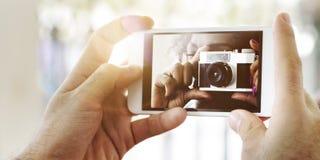 Fotografie-Kamera-Telefon-Gefangennahmen-Technologie-Konzept Lizenzfreie Stockbilder