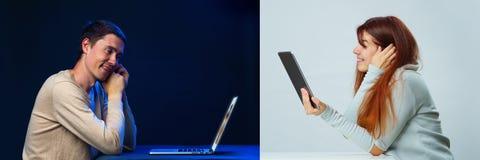 Fotografie mężczyźni i kobiety komunikują z each inny onlinym przez pastylki i laptopu zdjęcie royalty free