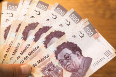 Fotografie mit fünfhundert Rechnungen der mexikanischen Pesos Lizenzfreies Stockbild