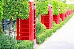 Fotografie van oude rode telefoondozen Royalty-vrije Stock Afbeelding