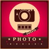 Fotografiekamera und Retro- Plakat des Filmes Stockbilder