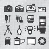 Fotografiekameraikonen eingestellt lizenzfreie abbildung