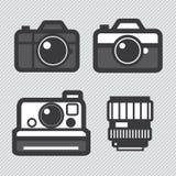 FotografieKameraobjektiv und Zubehör eingestellt stock abbildung