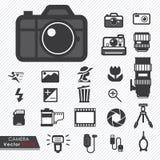 FotografieKameraobjektiv und Zubehör eingestellt lizenzfreie abbildung