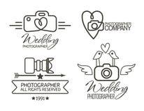Fotografiemblem och etiketter i tappningstil stock illustrationer