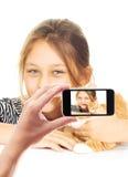 Fotografieren des Mädchens mit einer Katze Stockfotos