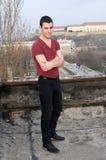 Fotografieren von ‡ Danila MaziÄ auf altem Dach mit einer Hintergrund Petrovaradin Festung und der Donau Stockbild