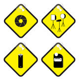 Fotografieteken in gele markerings vectorillustratie Stock Fotografie