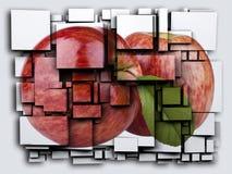 Fotografii 3D sześcianów skutka zieleń Apple świadczenia 3 d Obrazy Royalty Free