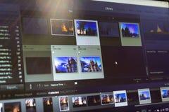 Fotografii edytorstwo na laptopie Fotografa komputer z fachowym oprogramowaniem Wizerunek poczty przerób obrazy stock
