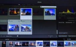 Fotografii edytorstwo na laptopie Fotografa komputer z fachowym oprogramowaniem Wizerunek poczty przerób zdjęcie royalty free