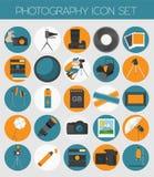 Fotografii ikona ustawiająca z fotografią, kamery wyposażenie Colour mieszkanie v ilustracji