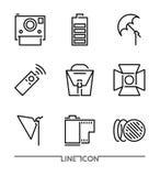 Fotografii ikony set; Multimedialnego mieszkania cienkie kreskowe ikony wektorowe Zdjęcia Royalty Free