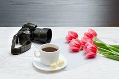 Fotografii kamera, kubek kawa i menchii tullips, Drewniany tło zdjęcie royalty free