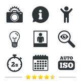 Fotografii kamery ikona Błyskowy światła i samochodu ISO ilustracja wektor