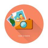 Fotografii kamery sieci ikony płaski projekt, wektorowy wizerunek Zdjęcie Stock