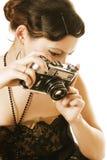 fotografii kobieta retro sepiowa Zdjęcie Stock