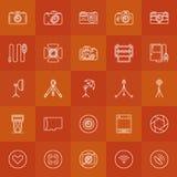Fotografii liniowe ikony ustawiać Obrazy Royalty Free