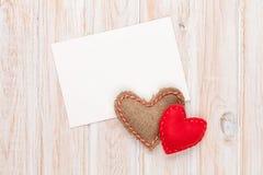 Fotografii rama, kartka z pozdrowieniami lub handmaded valentines dnia zabawka on Zdjęcia Royalty Free