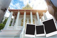 fotografii rama z Tajlandzką świątynią, Bangkok Tajlandia ilustracja wektor