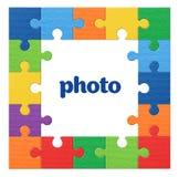 Fotografii ramy łamigłówki kolorowy tło zdjęcia stock