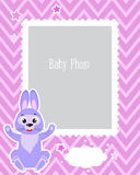 Fotografii ramy projekt Dla dzieciaków Z Ślicznym królikiem Dekoracyjny szablon Dla dziecko wektoru ilustraci Obrazy Stock