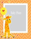 Fotografii ramy projekt Dla dzieciaka Z Śliczną żyrafą Dekoracyjny szablon Dla dziecko wektoru ilustraci Urodzinowa dziecko fotog Obrazy Royalty Free