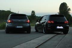 Fotografii ` s Volkswagen Golf 5 i Volkswagen Golf 6 GTI Fotografia Stock