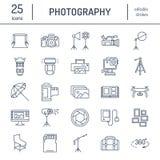 Fotografii wyposażenia mieszkania linii ikony Cyfrowa kamera, fotografie, oświetlenie, kamera wideo, fotografii akcesoria, pamięc ilustracji