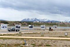 Fotografii wystawa o Falklands wojnie w terenie Malvinas wyspy w Ushuaia Fotografia Royalty Free