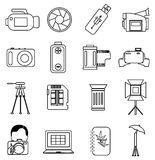 Fotografilinje symbolsuppsättning Royaltyfri Foto